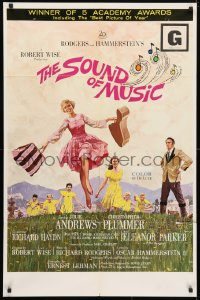 4t793 SOUND OF MUSIC awards 1sh 1965 classic Terpning art of Julie Andrews & top cast!