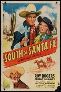 4t794 SOUTH OF SANTA FE 1sh 1942 art of Roy Rogers, Gabby & pretty Linda Hayes in New Mexico!