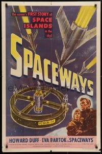 4t796 SPACEWAYS 1sh 1953 Hammer sci-fi, screen's 1st story of the space islands in the sky!