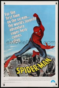 4t798 SPIDER-MAN 1sh 1977 Marvel Comic, great image of Nicholas Hammond as Spidey!