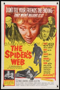 4t800 SPIDER'S WEB 1sh 1961 Glynis Johns, written by Agatha Christie, cool image!