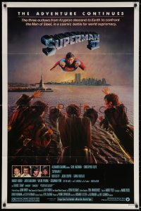 4t843 SUPERMAN II studio style 1sh 1981 Christopher Reeve, Terence Stamp, great image of villains!