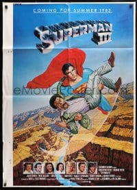 4t845 SUPERMAN III printer's test advance 1sh 1983 Reeve flying with Richard Pryor by L. Salk!
