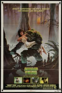 4t848 SWAMP THING NSS style 1sh 1982 Wes Craven, Hescox art of him holding sexy Adrienne Barbeau!