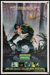 4t849 SWAMP THING studio style 1sh 1982 Wes Craven, Richard Hescox art holding Adrienne Barbeau!