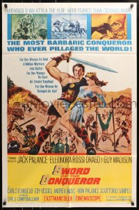 4t853 SWORD OF THE CONQUEROR 1sh 1962 great art of Jack Palance as barbarian holding sexy girl!