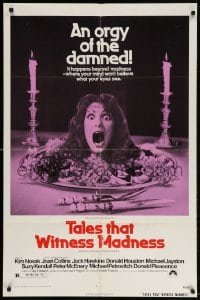 4t856 TALES THAT WITNESS MADNESS 1sh 1973 wacky screaming head on food platter horror image!