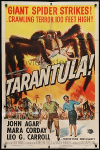 4t858 TARANTULA 1sh 1955 Jack Arnold, Reynold Brown art of town running from 100 ft spider monster!