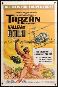 4t862 TARZAN & THE VALLEY OF GOLD 1sh 1966 art of Henry tossing grenades at baddies by Reynold Brown!
