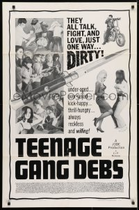 4t865 TEENAGE GANG DEBS 1sh 1966 Diane Conti, Linda Gale, Eileen Dietz, they all fight & love dirty