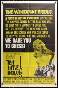 4t867 TEN LITTLE INDIANS 1sh 1966 Agatha Christie, art of super sexy full-length Shirley Eaton!