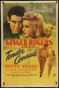 4t869 TENDER COMRADE 1sh 1944 pretty Chin-Up Girl Ginger Rogers & Robert Ryan, unforgettable
