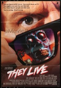 4t878 THEY LIVE DS 1sh 1988 Rowdy Roddy Piper, John Carpenter, he's all out of bubblegum!