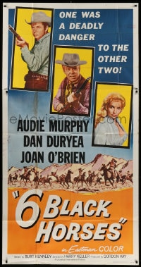 4w019 6 BLACK HORSES 3sh 1962 Audie Murphy, Dan Duryea, Joan O'Brien, one was deadly to the others!