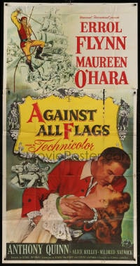 4w021 AGAINST ALL FLAGS 3sh 1952 different image of pirate Errol Flynn romancing Maureen O'Hara!