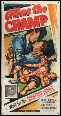 4w022 ALIAS THE CHAMP 3sh 1949 cool art of pro wrestler Gorgeous George doing figure 4 leg lock!