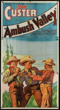 4w024 AMBUSH VALLEY 3sh 1936 art of Bob Custer fighting with two other cowboys!