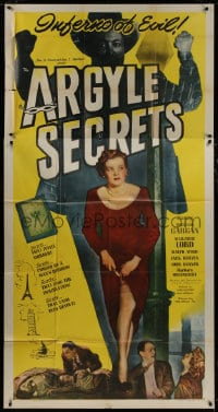 4w026 ARGYLE SECRETS 3sh 1948 film noir from world's most sinister best-seller, inferno of evil!