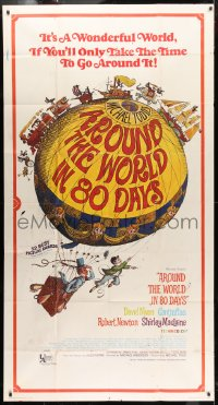 4w028 AROUND THE WORLD IN 80 DAYS 3sh R1968 cool hot air balloon artwork by Deschamps!