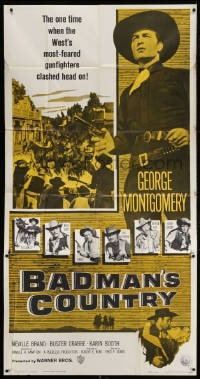 4w030 BADMAN'S COUNTRY 3sh 1958 George Montgomery as Pat Garrett, Buster Crabbe as Wyatt Earp!