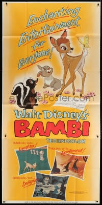 4w031 BAMBI 3sh R1966 Walt Disney cartoon classic, great art with Thumper & Flower!