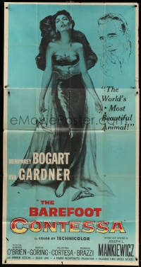 4w032 BAREFOOT CONTESSA 3sh 1954 Humphrey Bogart & art of sexy full-length Ava Gardner!