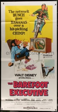 4w033 BAREFOOT EXECUTIVE 3sh 1971 Disney, art of Kurt Russell & wacky chimp gone bananas!