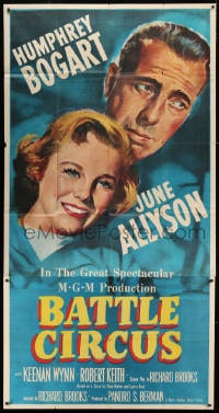 4w034 BATTLE CIRCUS 3sh 1953 great close up artwork of Humphrey Bogart & pretty June Allyson!