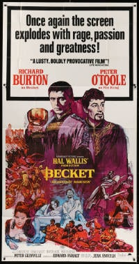 4w035 BECKET 3sh R1967 Richard Burton, Peter O'Toole, John Gielgud, different Sandy Kossin art!