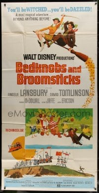 4w036 BEDKNOBS & BROOMSTICKS 3sh 1971 Walt Disney fantasy, Angela Lansbury, great cartoon art!