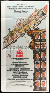 4w037 BIG BUS int'l 3sh 1976 Jack Davis art, the first disaster movie where everyone dies laughing!