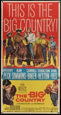 4w038 BIG COUNTRY 3sh 1958 Gregory Peck, Charlton Heston, William Wyler classic!