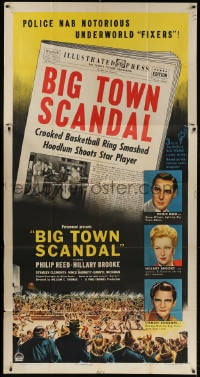 4w040 BIG TOWN SCANDAL 3sh 1947 underground basketball gamblers caught fixing big game, cool art!