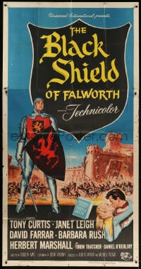4w042 BLACK SHIELD OF FALWORTH 3sh 1954 art of knight Tony Curtis & real life wife Janet Leigh