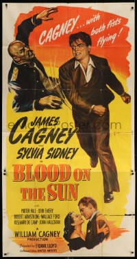 4w043 BLOOD ON THE SUN 3sh 1945 art of James Cagney with both fists flying + sexy Sylvia Sidney!