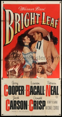 4w044 BRIGHT LEAF 3sh 1950 great romantic close up of Gary Cooper & sexy Lauren Bacall!