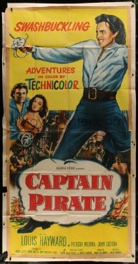 4w046 CAPTAIN PIRATE 3sh 1952 artwork of swashbuckler Louis Hayward, pretty Patricia Medina!