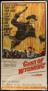4w047 CATTLE KING 3sh 1963 cool art of Robert Taylor about to pistol-whip guy, Guns of Wyoming!