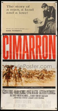 4w048 CIMARRON 3sh 1960 directed by Anthony Mann, Glenn Ford, Maria Schell, cool artwork!