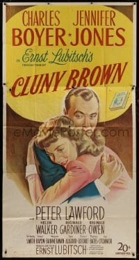 4w050 CLUNY BROWN 3sh 1946 great stone litho of Charles Boyer & Jennifer Jones, Ernst Lubitsch!