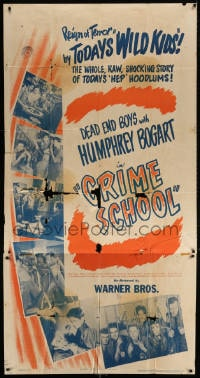4w054 CRIME SCHOOL 3sh R1947 Humphrey Bogart, Dead End Kids are today's hep hoodlums, ultra rare!