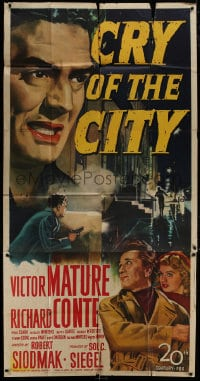 4w055 CRY OF THE CITY 3sh 1948 film noir, art of Victor Mature, Richard Conte & Shelley Winters!