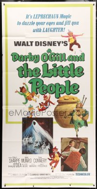 4w056 DARBY O'GILL & THE LITTLE PEOPLE 3sh R1969 Disney, Sean Connery, it's leprechaun magic!