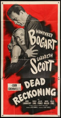 4w058 DEAD RECKONING 3sh R1955 great close image of Humphrey Bogart & Lizabeth Scott, very rare!