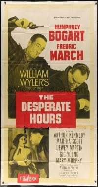 4w059 DESPERATE HOURS 3sh 1955 Humphrey Bogart attacks Fredric March from behind, William Wyler