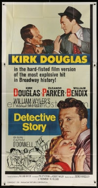 4w060 DETECTIVE STORY 3sh R1960 William Wyler, Kirk Douglas can't forgive Eleanor Parker!