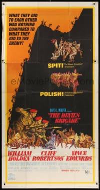 4w061 DEVIL'S BRIGADE 3sh 1968 William Holden, Cliff Robertson, Vince Edwards, cool art by Kossin!