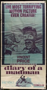 4w062 DIARY OF A MADMAN 3sh 1963 Vincent Price in his most chilling portrayal of evil!