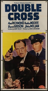 4w063 DOUBLE CROSS 3sh 1941 police officer Kane Richmond arresting John Miljan with gun!