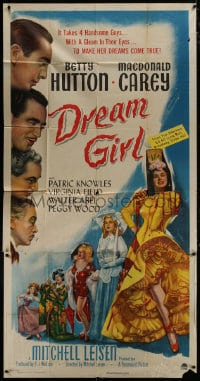 4w064 DREAM GIRL 3sh 1948 Macdonald Carey & handsome guys make Betty Hutton's dreams come true!